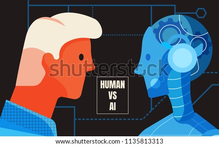 The male human and android look in each other eyes, Human vs artificial intelligence concept on black background, Futurism concept, vector illustration in flat style