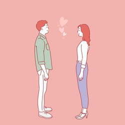 The man and the woman are standing facing each other and looking at each other lovingly. hand drawn style vector design illustrations.