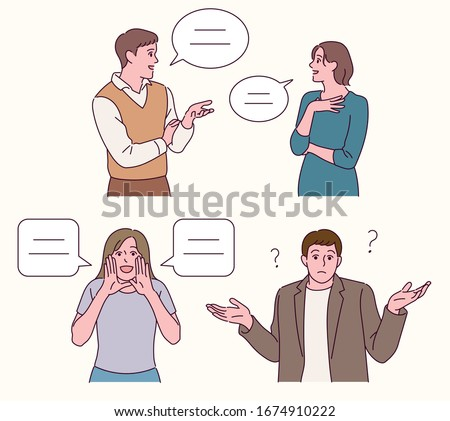 The man and the woman are talking to each other. The man and the woman are looking ahead and talking. hand drawn style vector design illustrations.