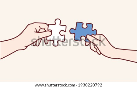 The man and woman holds in hand a jigsaw puzzle. Business solutions, success and strategy concept. Hand drawn style vector design illustrations.