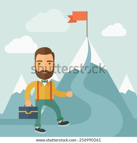 the man climbing the mountain