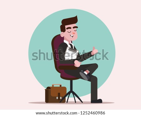 The man got the job of the boss. Happy boss practicing job interview.  Businessman is sitting in the boss's chair. Businessman in suit shows thumb. Cartoon character businessman. Flat vector