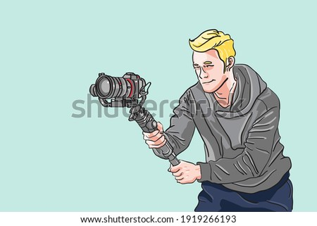The man holding camera with gimbal accessories for any production, Videographer posing action, cameraman with cinema action, Contributor make any contents, Film maker flat vector illustration. Stock photo ©