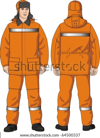 The man in a protective suit reflecting strips - stock vector