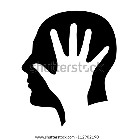 The man in the head with hand. Illustration on white background