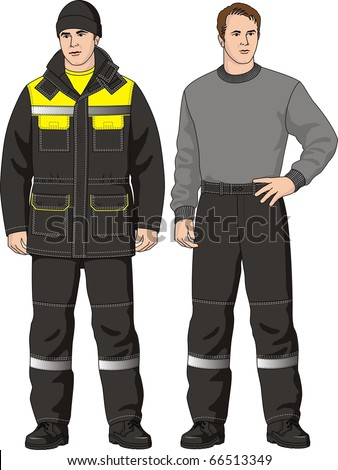 The man in the winter suit consisting of a jacket and trousers - stock vector