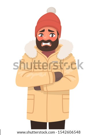 The man is frozen and trembling. Cold weather. Winter. Vector illustration in cartoon style Foto stock ©