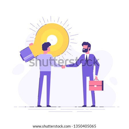 The man is holding a huge light bulb and shaking hands with a businessman with briefcase. Startup and search of investments concept. Business angel investing to innovational idea. Vector illustration.