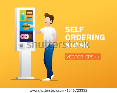 The man is ordering food from self ordering kiosk. Modern technology illustration vector.