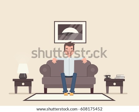 The man is sitting in the room and resting. Vector illustration in a flat style.