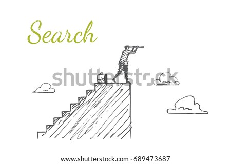 The man is standing on the stairs and looking at the telescope. Vector business concept illustration. Flat hand drawn sketch. Lettering search.
