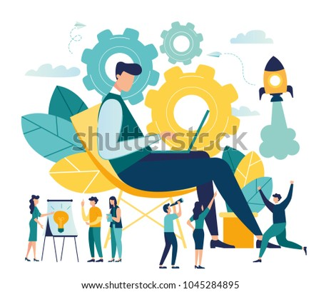 The man is working on the development of the idea of the design concept of the project. people help generate ideas. creative business project. vector illustration. Metaphor of transmissions as a workf