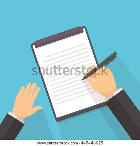 The man is writing on the clip board vector illustration