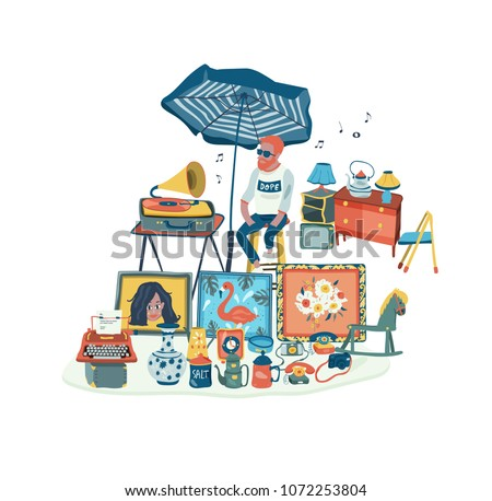 The man selling secondhand stuffs at flea market or market fair, all in colorful doodle cartoon flat design, illustration, vector, on white background