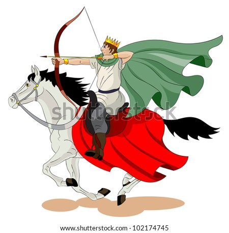 The man with a wreath on his head goes on a horse and shoots from an bow - stock vector