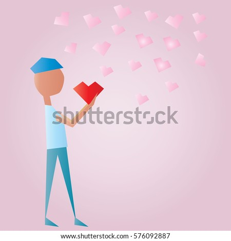 The man with pink  heart  ,Valentine card concept  - Shutterstock ID 576092887