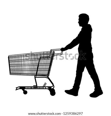 The man with shopping cart silhouette vector