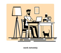 The Man works at a computer at home. Home furnishings. Remote work. Freelancer. Project manager, designer, copywriter, journalist, programmer, SMM. Vector illustration in flat style.