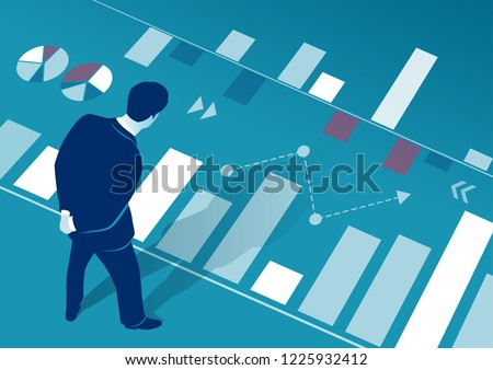 The manager analyzes business chart. Business concept vector illustration.