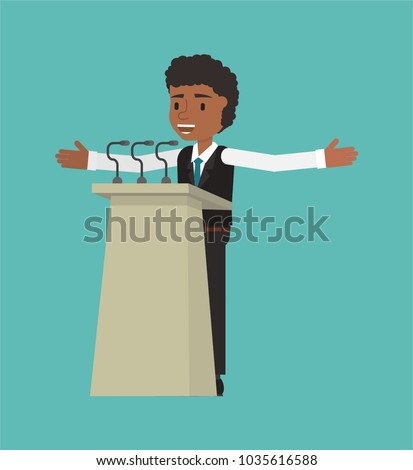 The manager makes a public speech at the pulpit. Vector illustration. Suitable for animation (individual elements)
