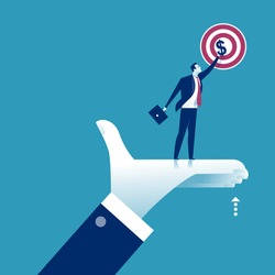 The manager's hand lifts the co-worker and helps him to achieve for the profit. Business vector illustration.