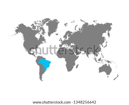 The map of Brazil is highlighted in blue on the world map #1348256642