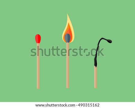 the match  lighted match and