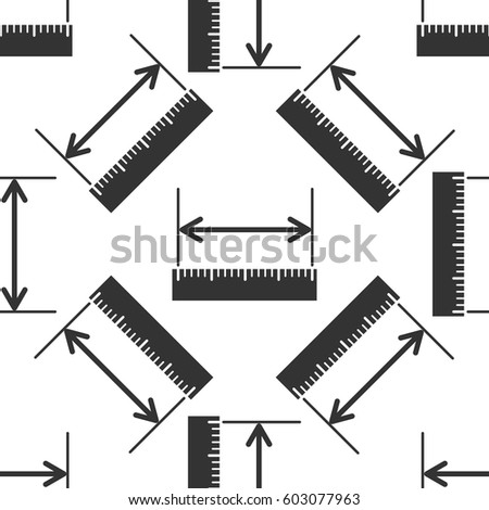 The measuring height and length icon. Ruler, straightedge, scale symbol icon seamless pattern on white background. Vector Illustration