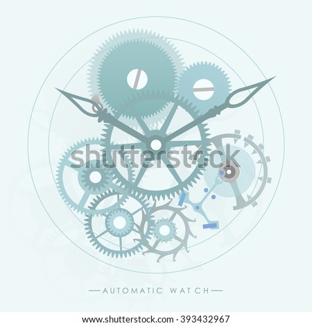 Stock Photo The mechanism of automatic watch lay on the blue retro background.(EPS10 art vector)