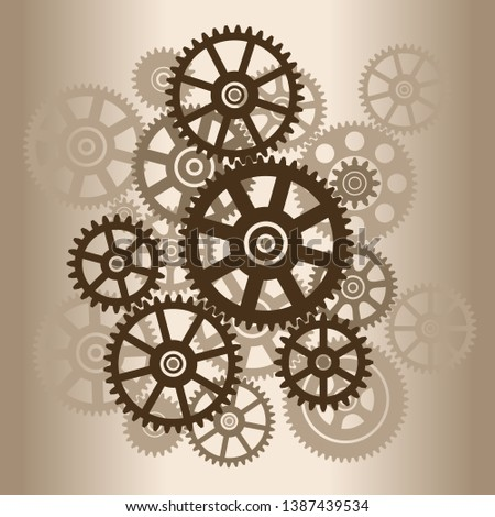 The mechanism with gears. Silhouette gears. Vector illustration.