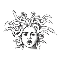 The Medusa. Can be used as a sketch of a tattoo.