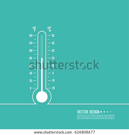 The meteorology thermometer with Celsius and Fahrenheit to measure the temperature of the environment. Vector illustration. Thermometer for heat and cold weather.