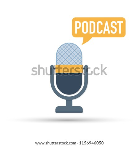 The microphone icon. The microphone icon. Studio microphone table broadcast podcast.