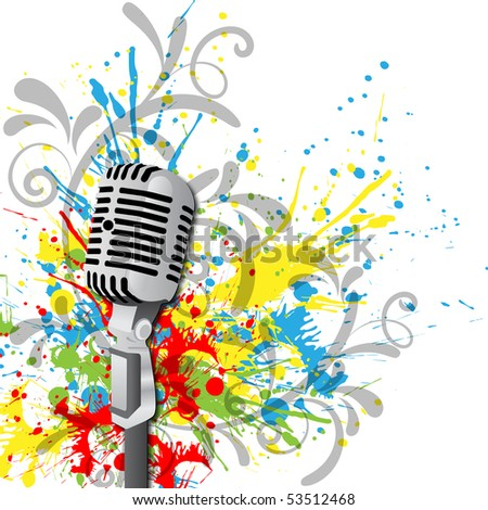 The microphone on the background of blots. Vector format 10 eps
