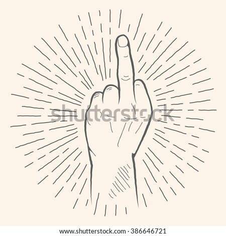 the middle finger hand drawn