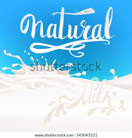 the milk flowing, in motion, splashing milk isolated vector