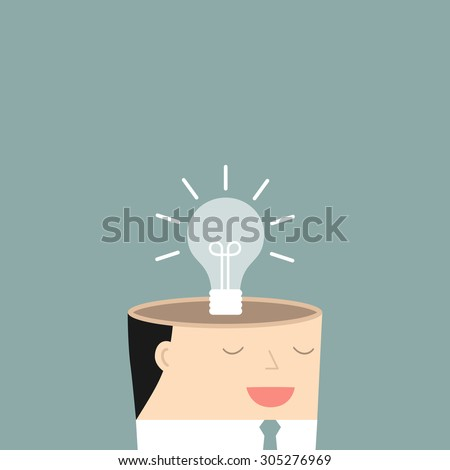 The mind of a businessman. The concept of a new idea. Vector illustration.