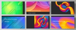 The minimalistic abstract vector illustration layout of the presentation slides design business templates. Futuristic technology design, colorful backgrounds with fluid gradient shapes composition.
