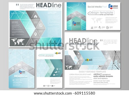 The minimalistic abstract vector illustration of the editable layout of modern social media post design templates in popular formats. Futuristic high tech background, dig data technology concept