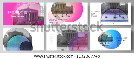 The minimalistic abstract vector illustration of the editable layout of the presentation slides design business templates. Creative modern bright background with colorful circles and round shapes.