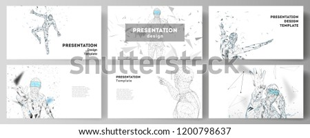 The minimalistic abstract vector illustration of the editable layout of the presentation slides design business templates. Man with glasses of virtual reality. Abstract vr, future technology concept