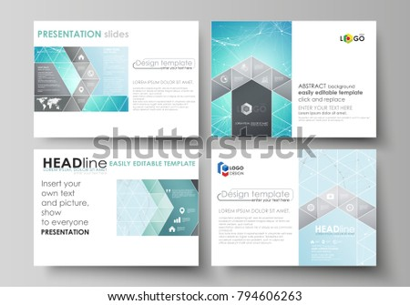 The minimalistic abstract vector illustration of the editable layout of the presentation slides design business templates. Futuristic high tech background, dig data technology concept. #794606263