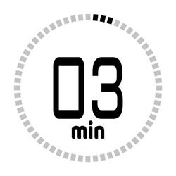 The 3 minutes countdown timer or digital counter timer clock vector icon. Stopwatch vector icon, digital timer.   For smartphone UI or UX countdown timer design.