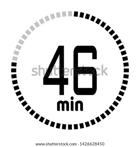 The 46 minutes countdown timer or digital counter timer clock vector icon. Stopwatch vector icon, digital timer.   For smartphone UI or UX countdown timer design.