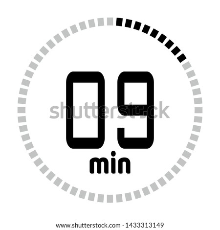 The 9 minutes countdown timer or digital counter timer clock vector icon. Stopwatch vector icon, digital timer.   For smartphone UI or UX countdown timer design.