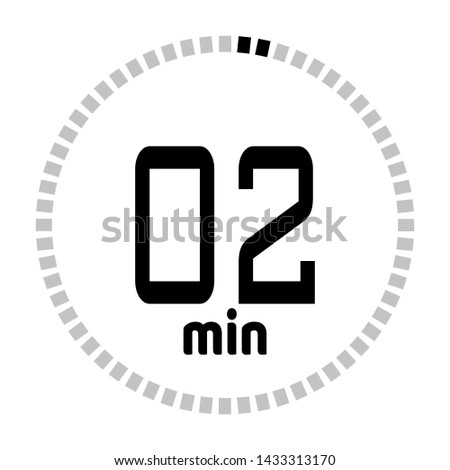 The 2 minutes countdown timer or digital counter timer clock vector icon. Stopwatch vector icon, digital timer.   For smartphone UI or UX countdown timer design.