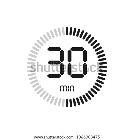 The 30 minutes, stopwatch vector icon, digital timer. clock and watch, timer, countdown symbol.