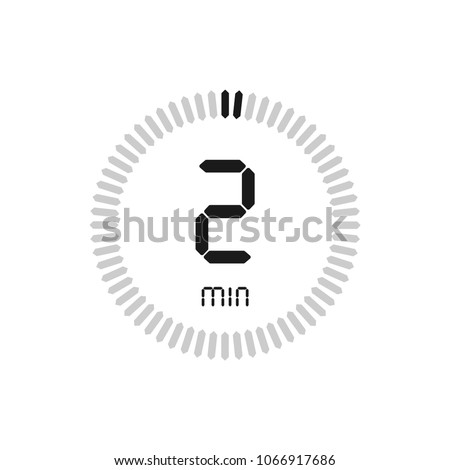 The 2 minutes, stopwatch vector icon, digital timer. clock and watch, timer, countdown symbol.