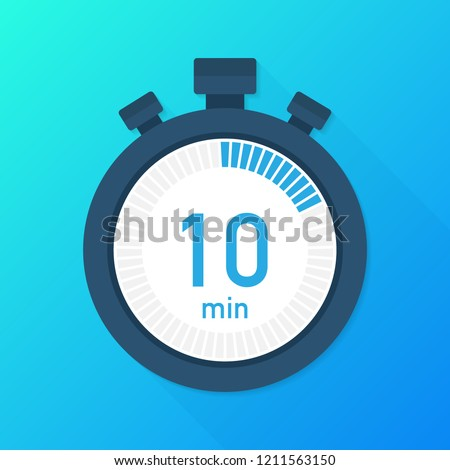 The 10 minutes, stopwatch vector icon. Stopwatch icon in flat style, timer on on color background.  Vector stock illustration.