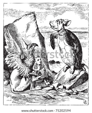 The Mock Turtle and Gryphon sing to Alice - Alice's Adventures in Wonderland original vintage engraving. Illustration from John Tenniel, published in 1865.